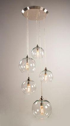 5 Port Canopy Hanging Light Fixture Brushed Nickel Finish | Etsy