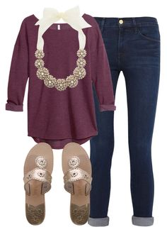"""""""Simple and classy"""" by preppygirl13 ❤ liked on Polyvore featuring Frame Denim, H&M, Kate Spade and Jack Rogers"""