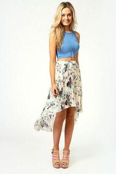 Mia Botanical Print Pleated Chiffon Mixi Skirt $26