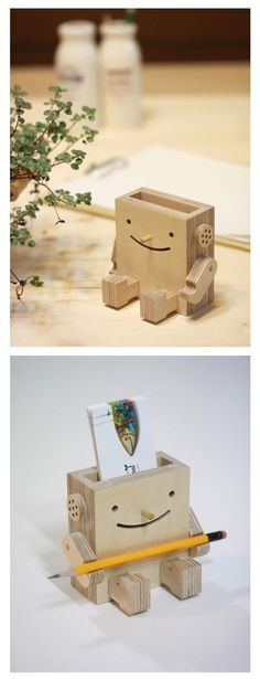 Wooden Robot Business Card Holder
