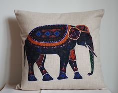 Elephant pillow, Cotton Linen Elephant pillow cover, cartoon pillow covers by DecorPillowStore on Etsy https://www.etsy.com/listing/198966429/elephant-pillow-cotton-linen-elephant