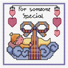 Cross stitch card for a new baby