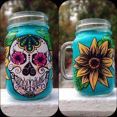 Hand painted sugar skull mason jar mug Mason Jar Art, Mason Jar Crafts, Bottle Crafts, Mason Jar Projects, Sorority Crafts, Skull Decor, Painted Wine Glasses, Chi Omega, Diy Supplies