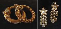 Antique gold kada and earrings with kundan by Gem Palace Jewels