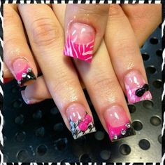 Acrylic Nails Hotpink Diamonds Bows Black Zebra Girls Salon