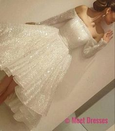 New Arrival Prom Dress,Sexy Prom Dress,Prom Dress,White sequins long sleeve short prom dress,homecoming dresses PD20181955 #homecoming #shortpromdresses