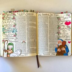 """The lost sheep, the lost coin and the lost son...  the power of """"redemption"""" and the love of a savior that pursues us and embraces us right where we are and brings us into the family... #ourgratefulhearts #illustratedfaith #biblejournaling #parables #redeemed"""