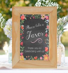 """Printable Chalkboard Favor Sign Digital File- Chalkboard """"Please take a favor"""" Wedding~ """"Chalkboard Garden""""~ Instant Download~ 5x7 , 8x10 by FoxyPrintables on Etsy"""