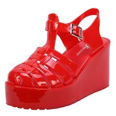Coshare Women's Fashion Chantal-91 Jelly PU Strappy Upper Low Top Flatform Platform Wedges, Red, 7.5 M US