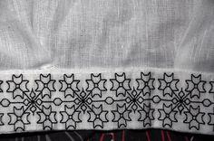 Hand stitched 16th Century blackwork collar detail.  Silk thread on linen.  www.embroideryemporium.co.uk
