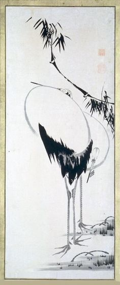 Two Canes beside Bamboo, one of a set of six paintings. Itō Jakuchū (Japanese, 1716 - 1800). 1775-1850. Hanging scroll. Ink on paper. Asian Art Museum.