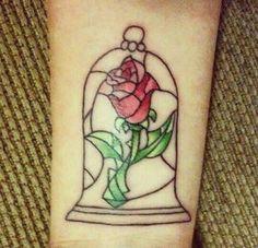 Flor da bela e a fera, tatuagem