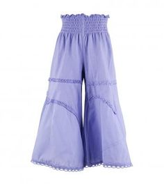 100% cotton solid color wide leg bell bottom pants with wide smocked elasticized waistband, pieced knit upper panels, pieced woven lawn lower leg panels, scalloped lace & gathered knit stripping trim and naartjie embroidery above left hem. Full length pants. Machine washable. Imported.