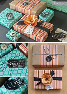 With all the pretty scrap-booking paper out there in every design imaginable- a cute idea would be to take some of it and embellish a plain paper bag wrapping and tie with twine or ribbon.  Unique and pretty!