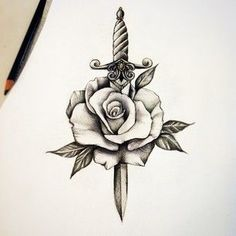 Image result for dagger rose tattoo