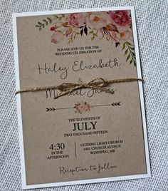 Rustic chic Wedding Invitation, The perfect mix of vintage lace, rustic and elegance! The wedding invitation is printed on kraft card stock paper