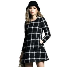 Black & White Plaid Dress Long Sleeves Beautiful Winter Mini Dress w/ Pockets #Unbranded #SweaterDress #Casual