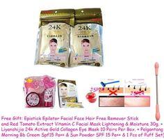 100 Packs X Powder Gold 24k Whitening Soft Mask Gold Powder 50g. (Free Gift: Epistick Epilator Facial Face Hair Free Remover Stick and Red Tomato Extract Vitamin C Facial Mask Lightening & Moisture 30g. + Liyanshijia 24k Active Gold Collagen Eye Mask 10 Pairs Per Box. + Palgantong Morning Bb Cream Spf15 Pa++ & Sun Powder SPF 15 Pa++ & 1 Pcs of Puff Set)) by JSP24 24k Powder Mask. $500.00. Free 3 Gift: Epistick Epilator Facial Face Hair Free Remover Stick and Red Tomato Ext...