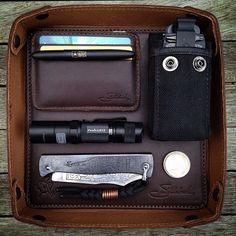 Everything in its right place.  | Saddleback Leather Co. | Classic Valet Tray | 100 Year Warranty | $59