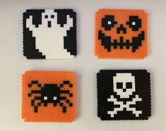 Melty Bead Patterns, Pearler Bead Patterns, Perler Patterns, Beading Patterns, Hama Beads Coasters, Diy Perler Beads, Perler Bead Art, Hama Beads Halloween, Pearl Beads Pattern