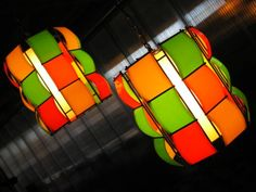 Colorful  vintage hanging wire frame lamps.
