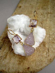 Amethyst Druzy Earrings Druzy Drops Drusy Quartz by julianneblumlo, $168.00