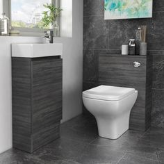 Hacienda 910mm grey bathroom fitted furniture floor stand basin BTW toilet suite · $429.94 Fitted Bathroom Furniture, Grey Furniture, Cloakroom Suites, Toilet Suites, Compact Bathroom, Basin Unit, Wood Grain Texture, Thing 1, Vanity Units