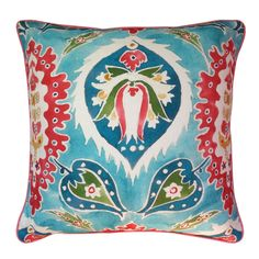 No Chintz x William Yeoward 'Sabbra' Peacock Cushion  This vibrant and colourful cushion features William Yeoward's Sabbra Peacock fabric, an artistic rendition of geometric pattern and digitally printed onto a viscose linen ground cloth. The back features an exquisite No Chintz ikat design making it ideal to showcase both ways.  #cushion #cushioncovers #designerfabrics #williamyeoward #homedecor #softfurnishings #nochintz
