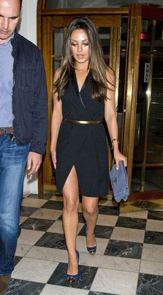 Mila Kunis wearing a Chic Black wrap dress @ Nobu Berkeley London