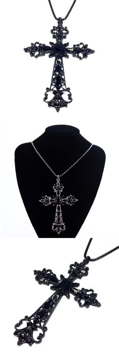 Gem Large Black Cross Necklaces & Pendants Collares Vintage Gothic Style Long Crucifix Necklace For Women Collier Joyeria Mujer