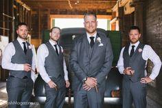 Megan & Scott's Country Lodge Wedding. Groom, Bridal Party, Groomsmen, Grey Suit, Grey Tux