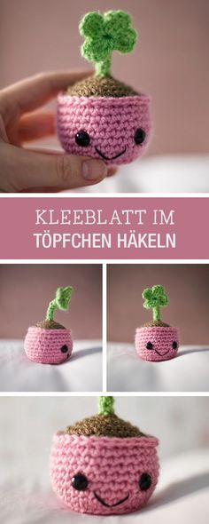 DIY tutorial: crochet cute lucky clover in a pot / DIY tutorial: cute luc . - DIY tutorial: crochet sweet lucky clover in a pot / DIY tutorial: cute lucky charm as clover leaf i - Crochet Cactus, Cute Crochet, Crochet Baby, Crochet Amigurumi, Crochet Dolls, Baby Knitting Patterns, Crochet Patterns, Crochet Mignon, Diy Tutorial