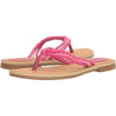 Sperry Anchor Coy Box (Raspberry) Women's Shoes ($25) ❤ liked on Polyvore featuring shoes, sandals, flip flops, pink, pink leather sandals, strappy leather sandals, sperry shoes, leather flip flops and strappy thong sandals