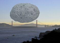 El asteroide Dionysus comparado con el Golden Gate Bridge de San Francisco