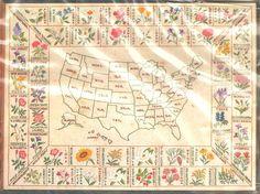 "VINTAGE PARAGON UNITED ""STATES' FLOWER MAP"" SAMPLER CREWEL EMBROIDERY KIT #Paragon"