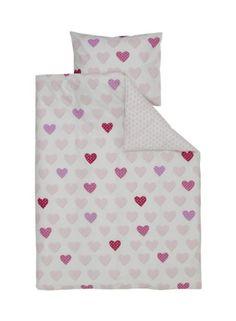 HEMA Kinderbettwäsche - 120 x 150 cm - rosa/weiß