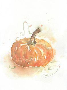 Vegetable, vegetable art print, art, minimalist, watercolor, watercolor painting, watercolor art print, pumpkin--watercolor print, 6x8 on Etsy, $16.00