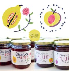 by Charlotte Trounce, packaging, jar, illustration, lettering, jam chutney, jelly, fruit, food, drawing