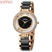$15.99 KIMIO Luxury Brand Watch Ladies Golden Silver Strap Fashion Bling Bling Crystal Fine Women Watches XMAS Gift