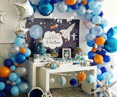 🌙⭐️🚀 🚀🚀Hector's super Galactic, astronaut space 💥 Pat Murray. Rocket Birthday Parties, 2nd Birthday Party Themes, Birthday Party Decorations, Boy Theme Party, Birthday Ideas, Baby Birthday, Space Baby Shower, Astronaut Party, Outer Space Party