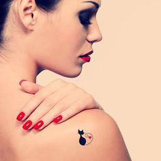 Cat temporary tattoo. Tattoo design. Love tattoo