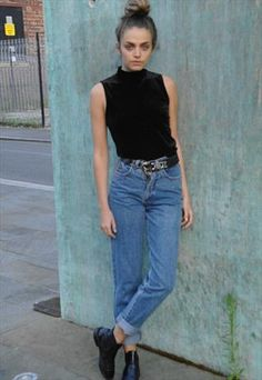 90's Velvet Turtle Neck Top £15 #90s #turtle #neck I love this look