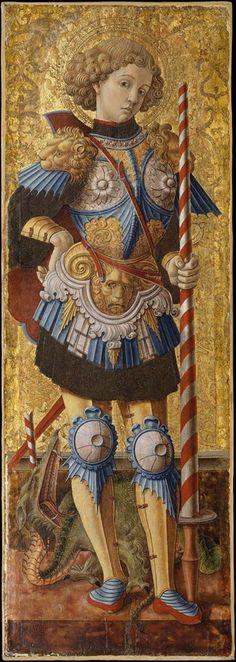 Carlo Crivelli ~ Saint George ~ 1472 ~ Italian Renaissance ~ Tempera on panel ~ Metropolitan Museum of Art, New York Die Renaissance, Renaissance Kunst, Renaissance Paintings, Religious Icons, Religious Art, Metropolitan Museum, Medieval Art, Sacred Art, Ikon