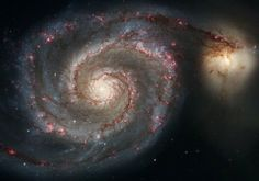 The Whirlpool Galaxy (Spiral Galaxy is a classic spiral galaxy located in the Canes Venatici constellation. photo: NASA and ESA via Hubble space telescope (January Cosmos, Whirlpool Galaxy, Hubble Images, Hubble Photos, Galaxy Images, Galaxy Pictures, Hubble Space Telescope, Telescope Images, Nasa Space