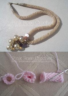 Cordão e Colar de Crochê Rose - Receita
