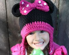 minnie mouse earflap hat pattern | Crochet Minnie Mouse hat made to or der ...