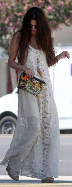 Selena Gomez White Romantic Maxi Boho Dress