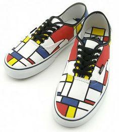 Vans shoes with a Mondrian pattern