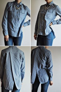 Handmade chambray button down with a cross over back