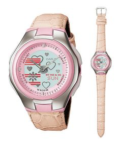 7f58097b5b93 Casio LCF10L-4A Women s Poptone Leather Band Hearts Galore Analog Digital  Watch
